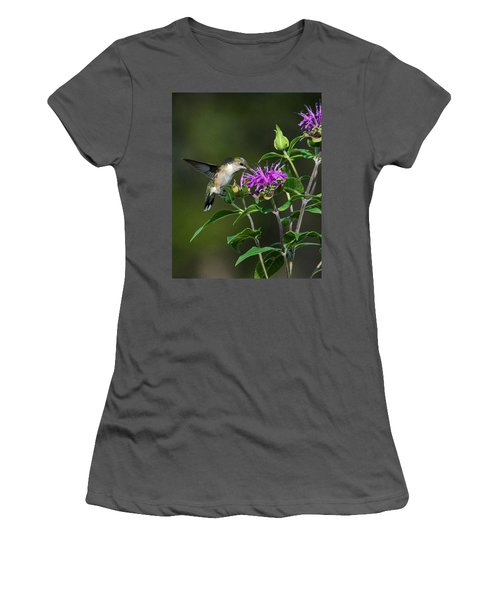 Hummer On Bee Balm Women's T-Shirt (Athletic Fit)