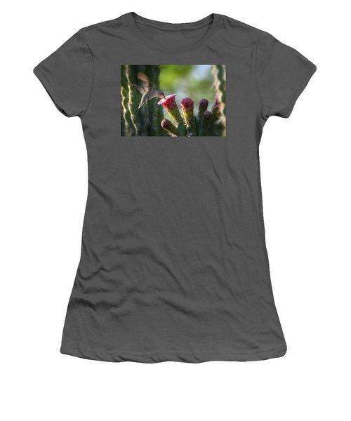 Hummingbird Breakfast Southwest Style  Women's T-Shirt (Junior Cut) by Saija  Lehtonen