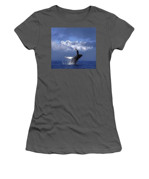 Humpback Whale Breaches In Clearing Fog Women's T-Shirt (Athletic Fit)