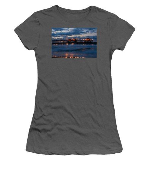 Huntington Beach Pier Lights  Women's T-Shirt (Athletic Fit)