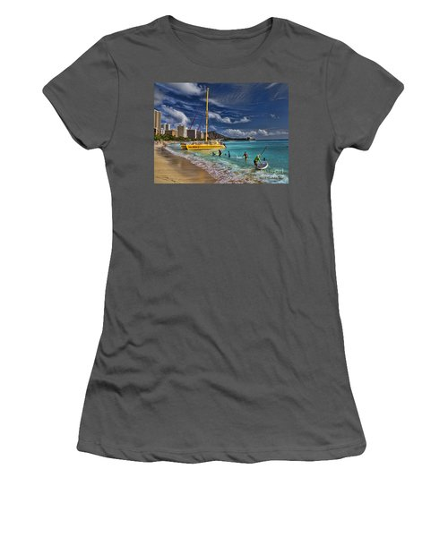Idyllic Waikiki Beach Women's T-Shirt (Athletic Fit)