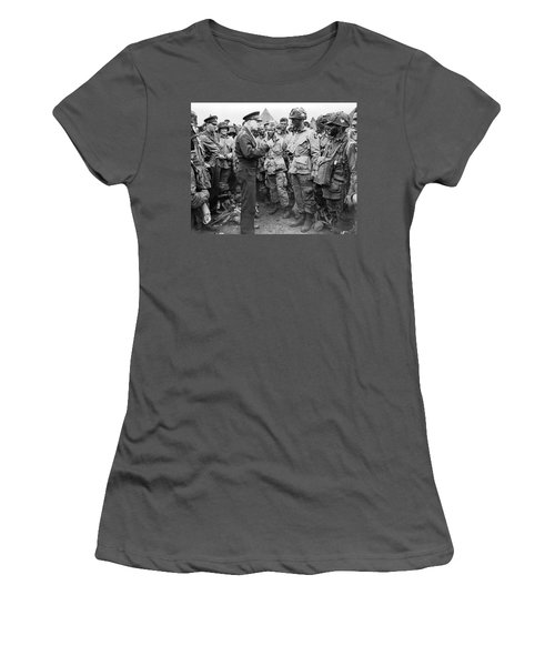 Ike With D-day Paratroopers Women's T-Shirt (Athletic Fit)