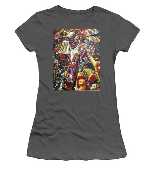 Women's T-Shirt (Junior Cut) featuring the painting In The Same Boat by Belinda Low