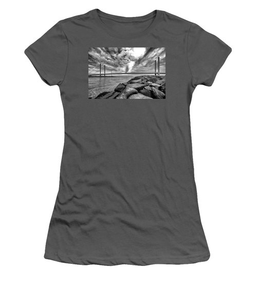 Indian River Bridge Clouds Black And White Women's T-Shirt (Athletic Fit)