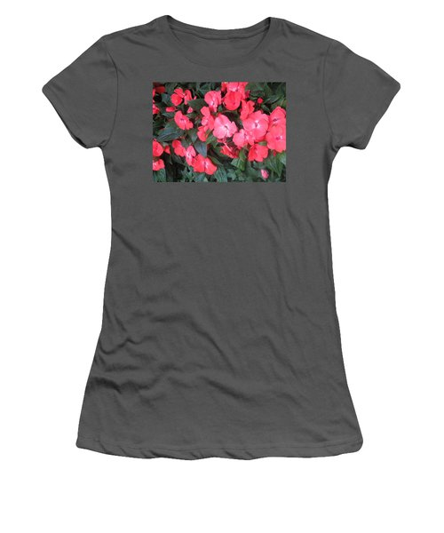 Women's T-Shirt (Junior Cut) featuring the photograph Interior Decorations Butterfly Garden Flowers Romantic At Las Vegas by Navin Joshi