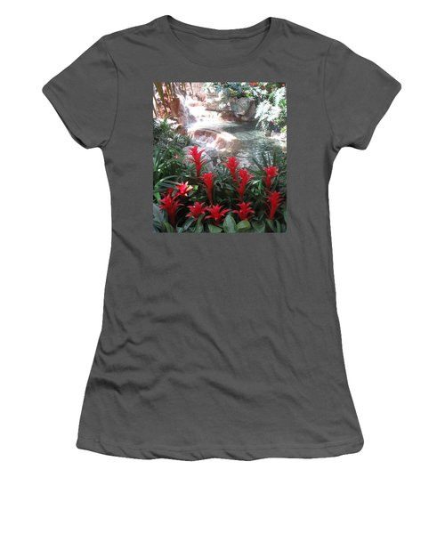 Women's T-Shirt (Junior Cut) featuring the photograph Interior Decorations Water Fall Flowers Lights Shades by Navin Joshi