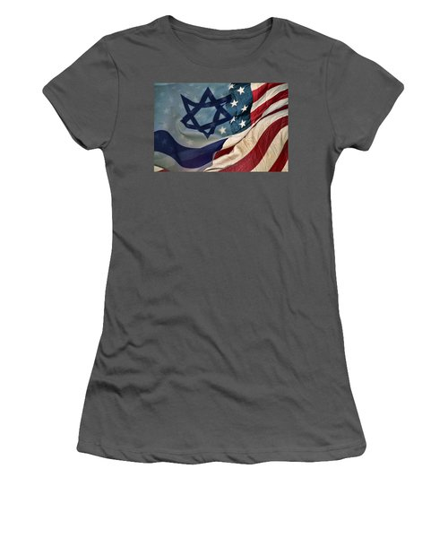 Israeli American Flags Women's T-Shirt (Junior Cut) by Ken Smith