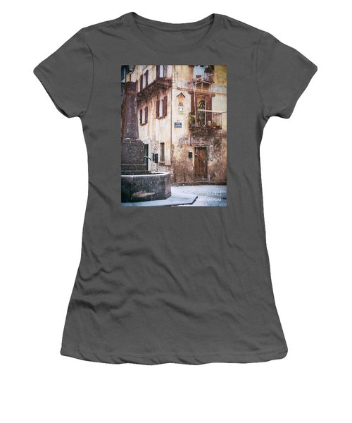 Women's T-Shirt (Junior Cut) featuring the photograph Italian Square In  Snow by Silvia Ganora