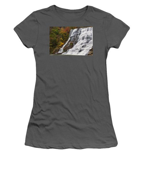 Ithaca Falls In Autumn Women's T-Shirt (Athletic Fit)