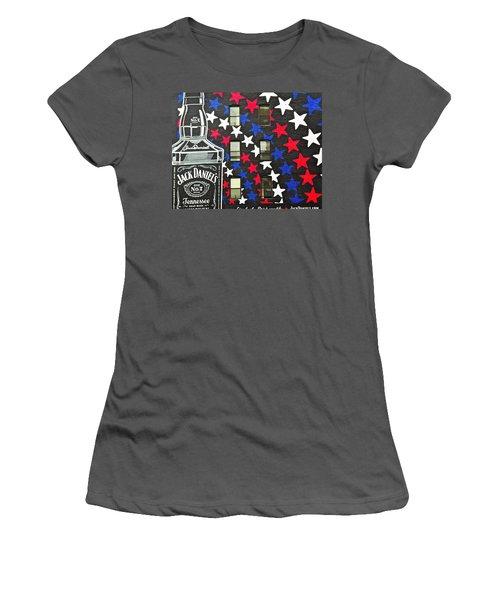 Jack Daniel's Wall Art Women's T-Shirt (Junior Cut) by Joan Reese