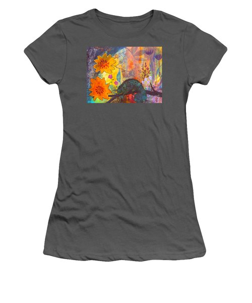 Women's T-Shirt (Junior Cut) featuring the painting Jackson's Chameleon by Robin Maria Pedrero