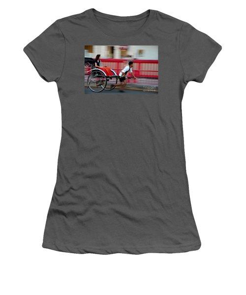 Japanese Tourists Ride Rickshaw In Tokyo Japan Women's T-Shirt (Athletic Fit)