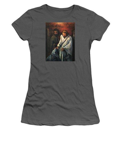Jesus Healing Beggar Women's T-Shirt (Junior Cut) by Donna Tucker