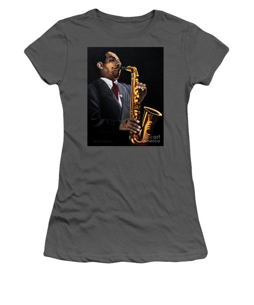 Women's T-Shirt (Junior Cut) featuring the painting Johnny And The Sax by Barbara McMahon