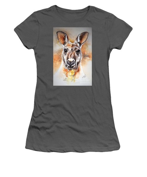 Women's T-Shirt (Junior Cut) featuring the painting Kangaroo Big Red by Sandra Phryce-Jones