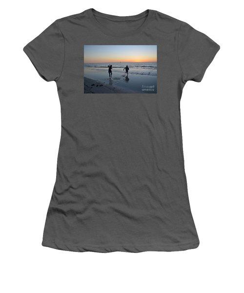 Women's T-Shirt (Junior Cut) featuring the photograph Kids At The Beach by Robert Meanor