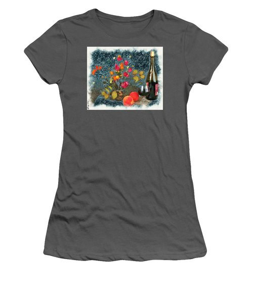 Kitchen - Peaches And Wine Painting  Women's T-Shirt (Athletic Fit)