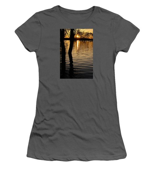 Women's T-Shirt (Junior Cut) featuring the photograph Lake Silhouettes by Julie Andel