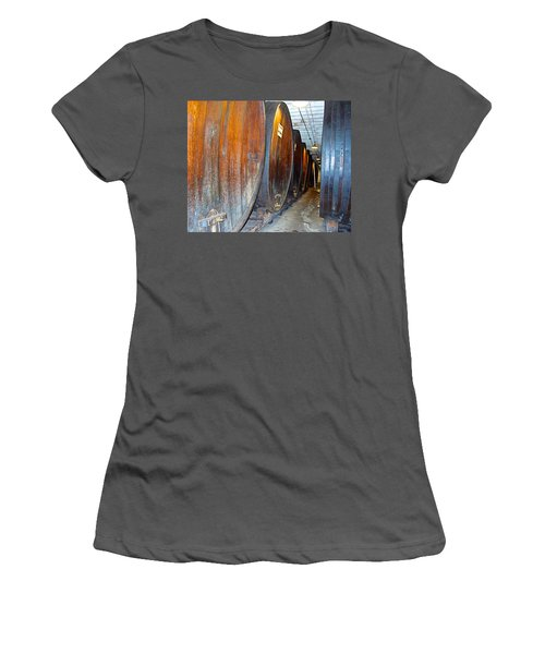 Large Barrels At Korbel Winery In Russian River Valley-ca Women's T-Shirt (Junior Cut) by Ruth Hager