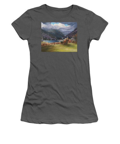 Last Train To Crawford Notch Depot Women's T-Shirt (Junior Cut) by Nancy Griswold