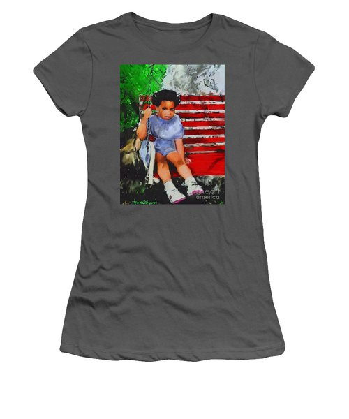 Women's T-Shirt (Junior Cut) featuring the painting Lauren On The Swing by Vannetta Ferguson