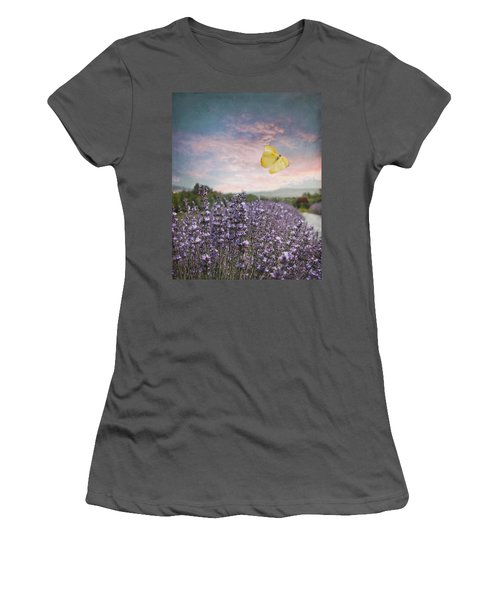 Lavender Field Pink And Blue Sunset And Yellow Butterfly Women's T-Shirt (Junior Cut) by Brooke T Ryan