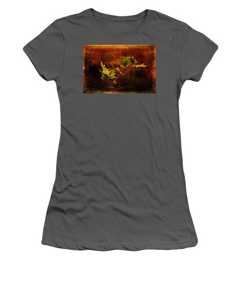 Leaves On Texture Women's T-Shirt (Athletic Fit)