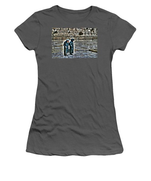 Women's T-Shirt (Junior Cut) featuring the photograph Leaving The Western Wall In Israel by Doc Braham