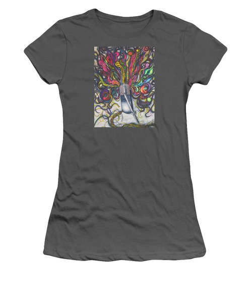 Women's T-Shirt (Junior Cut) featuring the painting Let Your Music Flow In Harmony by Chrisann Ellis