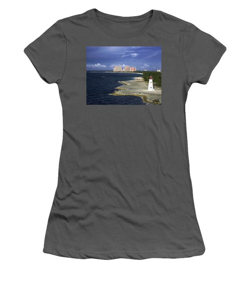 Lighthouse On Colonial Beach With Atlantis Paradise Resort Bahamas Women's T-Shirt (Athletic Fit)