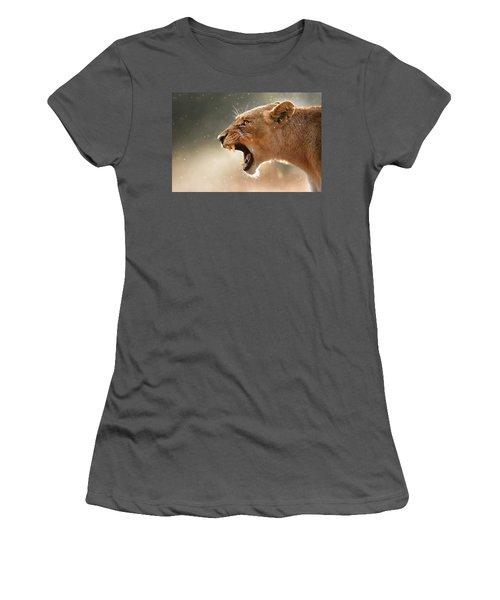 Lioness Displaying Dangerous Teeth In A Rainstorm Women's T-Shirt (Junior Cut) by Johan Swanepoel