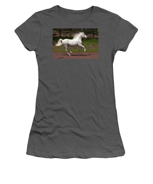 Women's T-Shirt (Junior Cut) featuring the photograph Lipizzan At Liberty D5809 by Wes and Dotty Weber