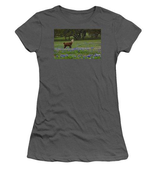 Llama In Bluebonnets Women's T-Shirt (Athletic Fit)