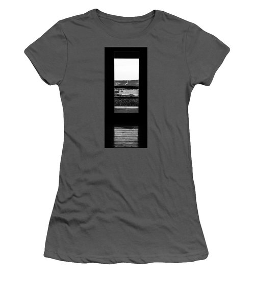 Women's T-Shirt (Junior Cut) featuring the photograph Looking Out A Country Door. by Darryl Dalton