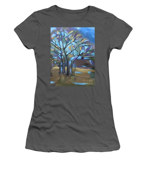 Looks Like Mondrian's Tree Women's T-Shirt (Athletic Fit)