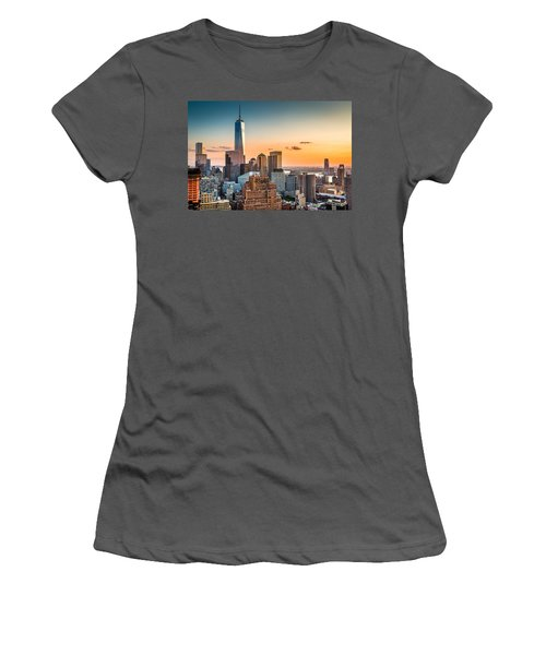 Lower Manhattan At Sunset Women's T-Shirt (Athletic Fit)