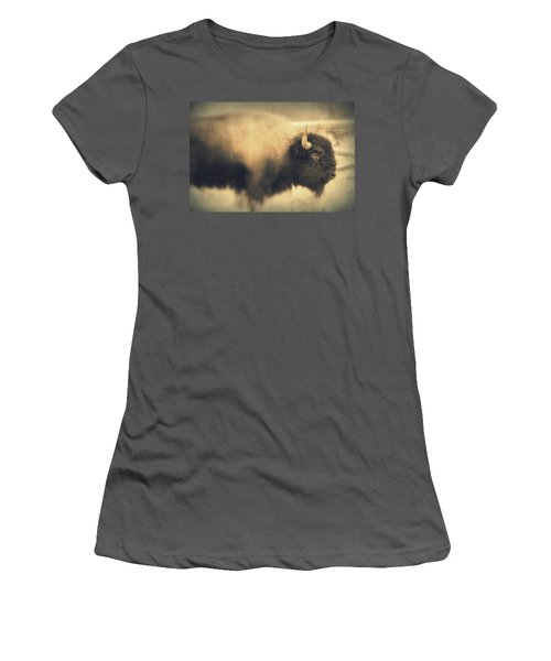 Women's T-Shirt (Junior Cut) featuring the photograph Lucky Yellowstone Buffalo by Lynn Sprowl