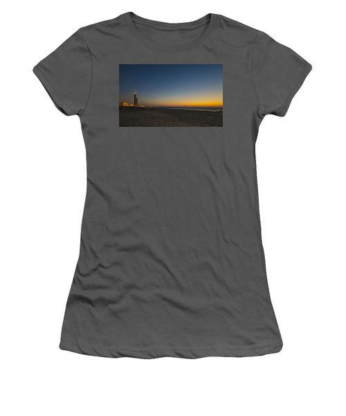 Women's T-Shirt (Athletic Fit) featuring the photograph magical sunset moments at Caesarea  by Ron Shoshani