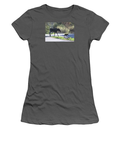 Mama And Baby Moose Women's T-Shirt (Junior Cut) by Fiona Kennard