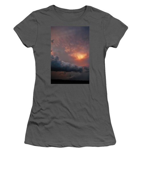 Women's T-Shirt (Junior Cut) featuring the photograph Mammatus At Sunset by Ed Sweeney