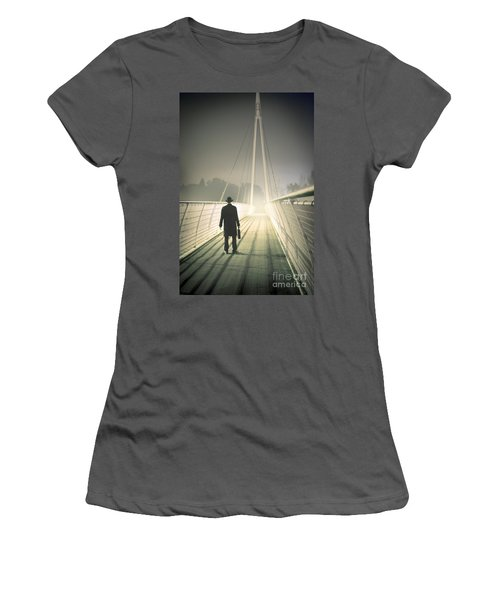 Women's T-Shirt (Junior Cut) featuring the photograph Man With Case On Bridge by Lee Avison