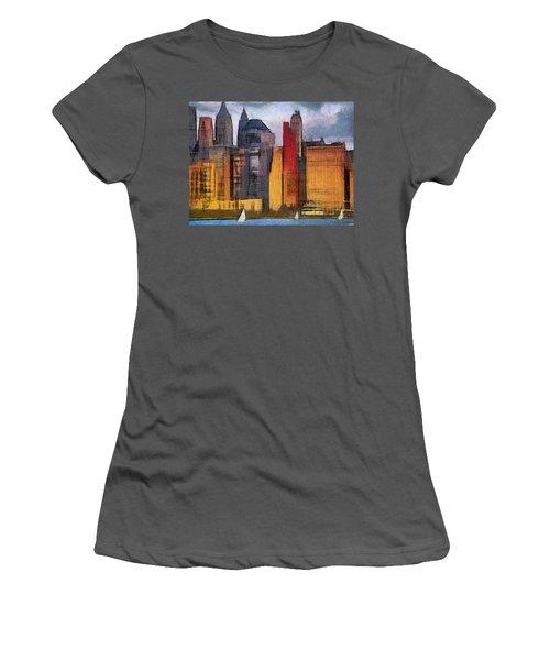 Beautiful City Manhattan Digital Painting Women's T-Shirt (Junior Cut) by Georgi Dimitrov