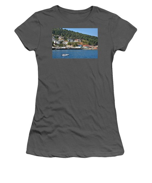 Women's T-Shirt (Junior Cut) featuring the photograph Marina Bay Scene With Boat And Houses On Hills by Imran Ahmed