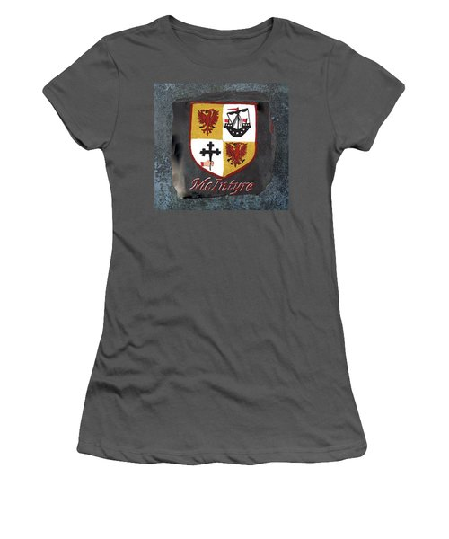 Women's T-Shirt (Junior Cut) featuring the painting Mcintyre Coat Of Arms by Barbara McDevitt