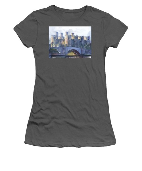 Medieval Conwy Castle.  Women's T-Shirt (Athletic Fit)