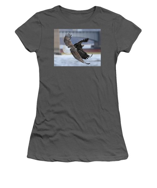 Women's T-Shirt (Junior Cut) featuring the photograph Mid Air Fight by Coby Cooper