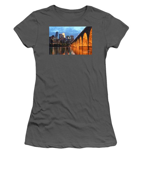 Minneapolis Skyline Photography Stone Arch Bridge Women's T-Shirt (Athletic Fit)