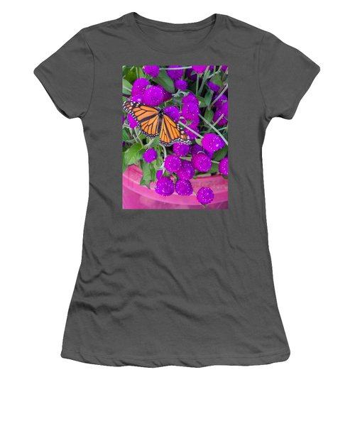 Monarch On Bachelor Buttons Women's T-Shirt (Athletic Fit)