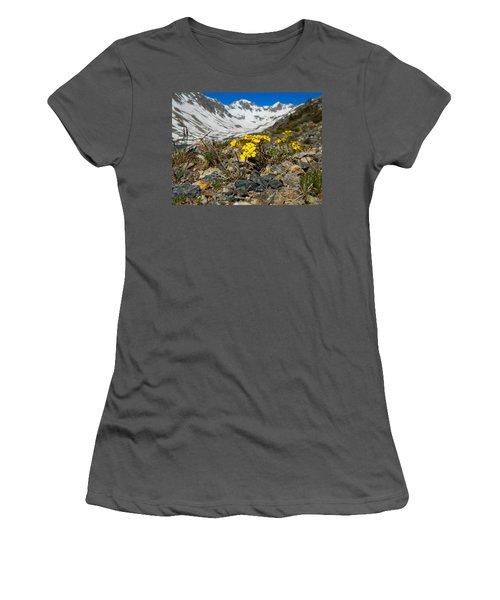 Blue Lakes Colorado Wildflowers Women's T-Shirt (Junior Cut) by Dan Miller