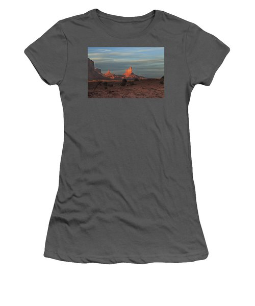 Women's T-Shirt (Junior Cut) featuring the photograph Monument Valley Sunset by Alan Vance Ley
